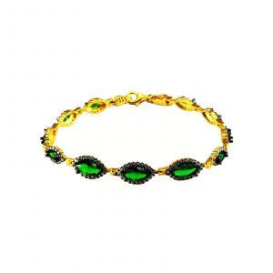 Yeşil Elips Taşlı 925 Ayar Gümüş Altın Sarısı Bileklik Model25
