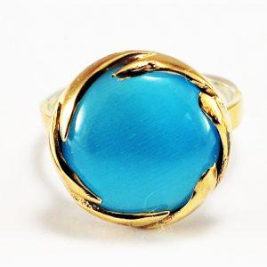 Mavi Yuvarlak Taşlı 925 Ayar Gümüş Yüzük Küpe Seti no2