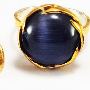 Siyah Yuvarlak Taşlı 925 Ayar Gümüş Yüzük Küpe Seti no2