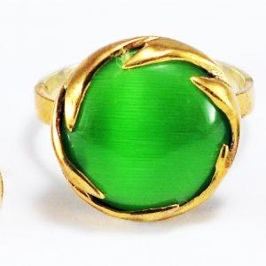 Yeşil Yuvarlak Taşlı 925 Ayar Gümüş Yüzük Küpe Seti no2
