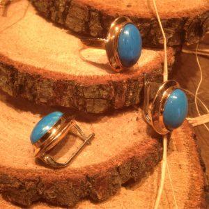 925 Gümüş küpe yüzük set , okyanus mavisi taşlı