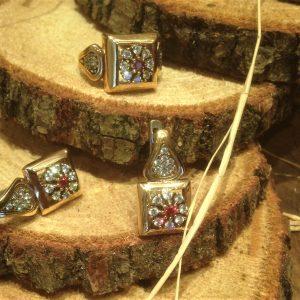 925 gümüş taşlı set küpe yüzük Swarovski taş döşemeli