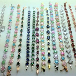 Gümüş Taşlı Bileklik 15  Çeşit renkli, kırmızı ,yeşil,pembe,mavi.