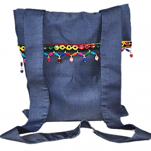 Kot Kumaşından El Yapımı İşlemeli Kadın El-Omuz Çantası