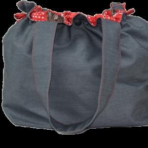 Kot Kumaşından El Yapımı Kadın El-Omuz Çantası Gri
